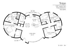 1 floor round home, 3 bed, 2 bath, BIG pantry. This would be my 1 floor home, right here. just move the master closet to another wall, and put a fireplace/masonry heater in the wall between the master bed/living room.