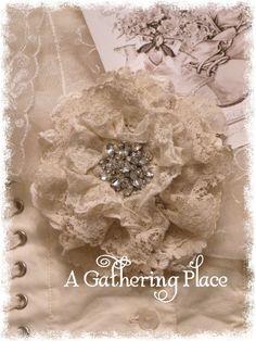 Rhinestone Tattered Lace Pin - Tattered Lace Roses - A Gathering Place