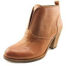 Lucky Brand Ehllen Women Round Toe Leather Brown Ankle Boot.
