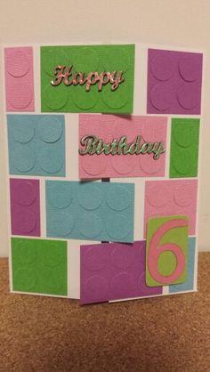 Handmade gatefold Lego card - girls 6th birthday Lego Birthday Cards, Lego Friends Birthday, Homemade Birthday Cards, Girl Birthday Cards, Lego Card, Lego Girls, Punch Art, Design Crafts, I Card