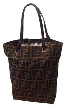 Fendi Zucca Pattern Monogram Canvas Handbag Brown Tote Bag 235 Purse Handbags
