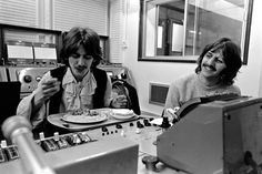 "George & Ringo take a break in a control room, during recording sessions for the album ""The Beatles"" (White Album) - The Beatles (RIP George)"