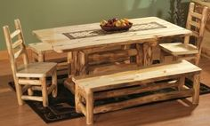 Cabela's: Mountain Woods Aspen 6' Dining Set with 4 Chairs, 1 Bench