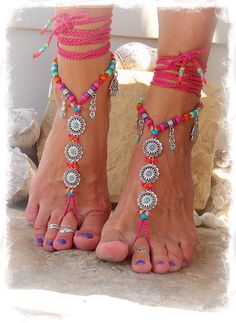 Hot Pink BIKINI Daisy BAREFOOT sandals Ibiza summer Toe Anklets crochet Sandal Beach Garden Wedding Yoga Toes Belly Dance toe thongs GPyoga
