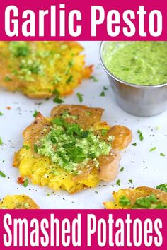 Garlic Pesto Smashed Potatoes - the best potatoes recipe ever with smashed baby potatoes topped with delicious garlic pesto. Gluten Free Recipes Side Dishes, Paleo Side Dishes, Gluten Free Recipes For Dinner, Delicious Dinner Recipes, Paleo Dinner, Side Dishes Easy, Brunch Recipes, Yummy Recipes, Best Potato Recipe Ever