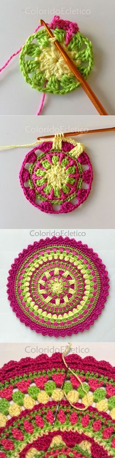 We are sharing here free crochet mandala patterns that different from each other in style, geometric patterns and in color schemes! Motif Mandala Crochet, Crochet Circles, Crochet Motifs, Crochet Blocks, Crochet Squares, Crochet Doilies, Crochet Flowers, Crochet Stitches, Crochet Patterns