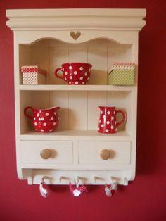Shabby chic farmhouse wall unit shelf shelves cabinet hand painted Laura Ashley   eBay