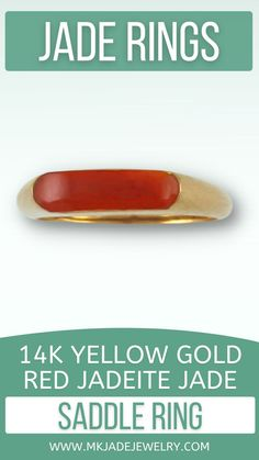 Classic jade style - small red jade saddle ring set in 14K yellow gold, finger size 5. Use discount code INSTA10JORDAN at checkout!