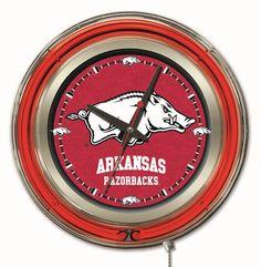 "Arkansas Razorbacks 15"" Diameter Clock with neon accents - University of Arkansas"
