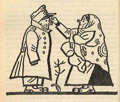 "Josef Lada – Illustration for Jaroslav Hašek's ""The Good Soldier Švejk and His Fortunes in the World War,"" 1924 First Novel, World War One, Book Illustration, Illustrators, The Past, Artsy, Sketches, Clip Art, Design Inspiration"