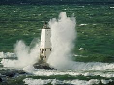 Frankfort North Light, Benzie County, Michigan:  images are part of our Free Wallpaper and Free Screensavers