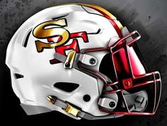 White niner helmet New Nfl Helmets, Football Helmet Design, College Football Helmets, Nfl Football Players, Sports Helmet, Football Gear, 49ers Helmet, 32 Nfl Teams, Nfl 49ers
