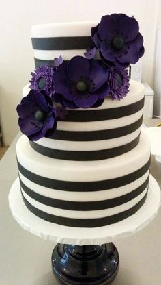 black and white striped wedding cake ~ we ❤ this! moncheribridals.com #purplefloralweddingcake