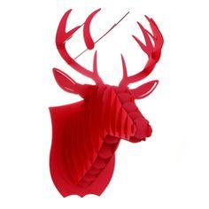 Red Deer Head 3D Puzzle Jigsaw DIY Art Paper Model Wall Decor Kit