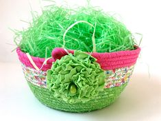 Coiled Rope Basket Clothesline Easter Bowl Large Handmade