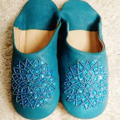 Turquoise Moroccan Babouche Slippers