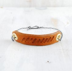 Leather and Silver Men's Cuff Bracelet Johnny fail by failjewelry, $68.00
