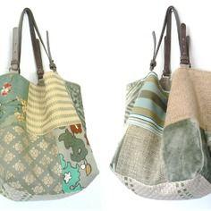 """Sac réversible """"mosaïque"""" vert amande 50cm x 40cm, pièce unique Diy Bags Purses, Patchwork Bags, Vintage Bags, Fabric Samples, Handmade Bags, Jakarta, My Bags, Bag Making, Tote Bag"""