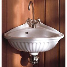 Herbeau Creations Carline Vitreous China Corner Sink - Single Faucet Drilling