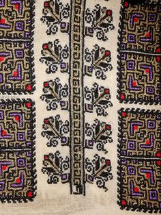 Folk Embroidery Patterns Patterns on a handmade Romanian blouse from - Polish Embroidery, Folk Embroidery, Embroidery Stitches, Embroidery Patterns, Cross Stitch Patterns, Beading Patterns, Butterfly Embroidery, Embroidery Fashion, Embroidery Techniques
