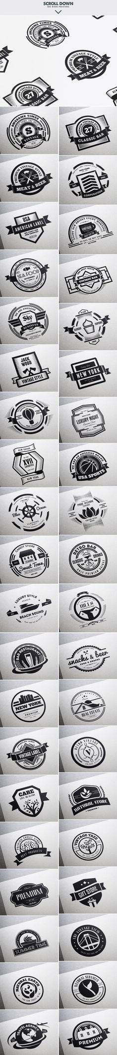MEGA BUNDLE 326 Vintage Logos Badges by DesignDistrict on @creativemarket