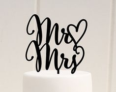 Original Mr & Mrs Wedding Cake Topper with Heart & Wedding Date  .:. Lead Time .:. Welcome to The Pink Owl. We love to allow 3-4 weeks production time for your custom made piece. If you need your order sooner please check with us. We can normally accommodate most customers but please contact us prior to purchasing to be sure we are able to fit your order in. :)  .:. What You Get .:. You will receive one cake topper in the style shown. The topper in our example photo is a 6 wide topper on a 6…