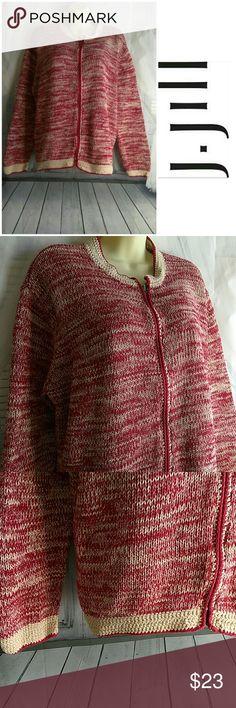 J Jill Zip Sweater Jacket 100% cotton J. Jill Sweaters