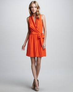 Sleeveless Faux-Wrap Tie Dress at CUSP.