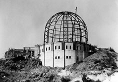 "From the now-iconic Griffith Observatory under construction in the Hollywood Hills, high above Los Angeles. The major location for ""Abduction at Griffith Observatory,"" the third James Murray mystery, by Christopher Geoffrey McPherson. California History, Vintage California, California Dreamin', Los Angeles California, Los Angeles Area, Downtown Los Angeles, Mega Series, Griffith Observatory, Griffith Park"