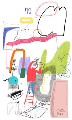 illustration by Gizem Vural, showing a man inventing a language Children's Book Illustration, Graphic Design Illustration, Mail Art, Illustrations And Posters, Editorial Design, Childrens Books, Illustrators, Art Drawings, Character Design