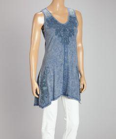Blue Embroidered Stud-Appliqué Sleeveless Handkerchief Tunic | zulily