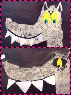 Vu sur FB: un loup avec du papier journal Animal Activities, Animal Crafts, Traditional Tales, Newspaper Art, 5th Grade Art, Pig Art, Ecole Art, Easy Art Projects, Three Little Pigs