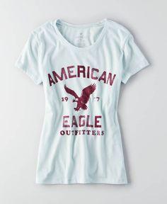 AEO Crew Graphic Favorite T-Shirt, Women's, Ocean Mist