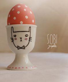 coquetier illustré lapin / porcelaine modèle unique. via Etsy.