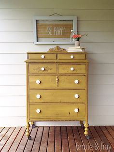 Dresser painted by Ferpie and Fray in Mustard by Old Fashioned Milk Paint Co.