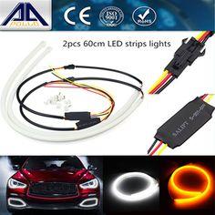 2pcs 60cm car styling daytime running light Angel Eye Flexible LED Strip Car fog with changeable turn Signal light Parking lamp