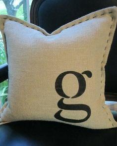 Monogram Burlap Pillow by Miriam Zeilmann. Love the stitching around the edges. Monogram Pillows, Burlap Pillows, Sewing Pillows, Decorative Pillows, Throw Pillows, Burlap Projects, Sewing Projects, Diy Projects, Pillow Fight