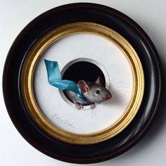 "Marina Dieul - "" Petite souris 142 ""  Oil, diameter 4 '' https://www.facebook.com/marina.dieul"
