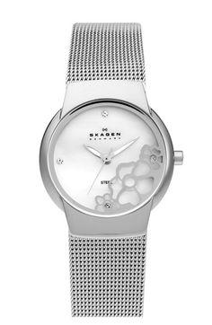 Skagen Floral Dial & Mesh Bracelet Watch | Nordstrom
