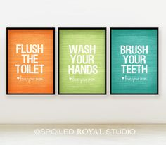 Love Mom Bathroom Prints - 5x7 - Set of 3 - You Choose Color - Modern Posters