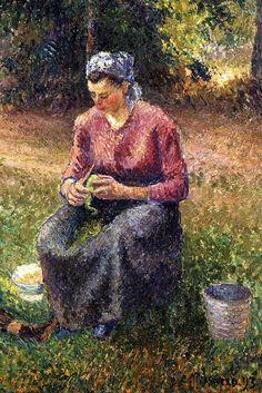 """Camille Pissarro (1830-1903) ~ """"Eragny, La Paysanne et l'Enfant"""", 1893 (Détail) ~ Huile sur Toile ~ Collection privée"""