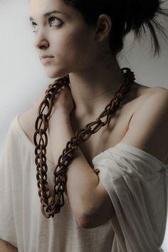 Christina Karakalpaki  - Perplexity Minor necklace worn, 44x13x3cm, leather