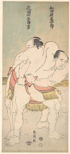 """A Wrestling Match"" by Katsushika Hokusai (1760~1849) Japan"