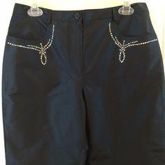 Luisa Spagnoli Pura Seta 42 Silk Pants 5 Pocket Embellished Studded Blue 2 4 XS #LuisaSpagnoli #DressPants