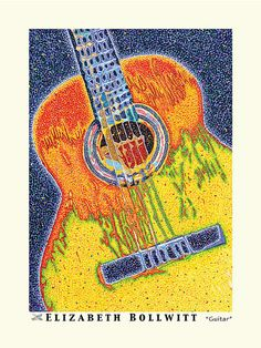 Items similar to Abstract Guitar Art Poster, Guitar Art Poster Print, Classical Guitar, Guitar Wall Art, Unique on Etsy Kitchen Wall Art, Kitchen Decor, Kitchen Design, Music Room Art, Guitar Posters, Guitar Art, Pointillism, Kitchen On A Budget, Stippling