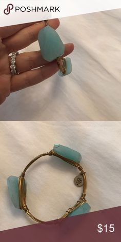 Bourbon & Boweties Bangle Authentic Bourbon & Boweties Bangle, perfect condition size XS. This one is very small! Aqua stones Bourbon and Bowties Jewelry Bracelets