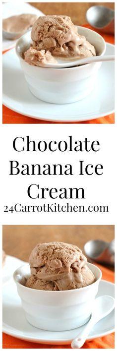 There are only 5 ingredients in this grain, gluten and dairy free chocolate ice cream.  Delish!  #grainfree #glutenfree #dairyfree #paleo #icecream #banana #chocolate #vegan