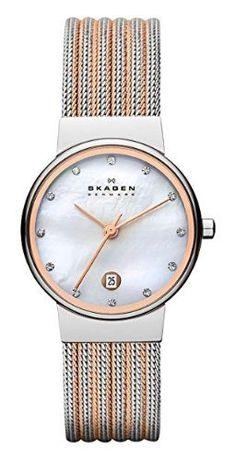 87ac861ce0d7 Skagen 355SSRS Women s Quartz Crystal-Set Mother of Pearl Dial Mesh Watch