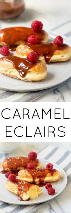 Salted Caramel Eclairs. A small batch dessert for two. @DessertForTwo