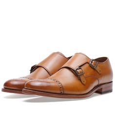 Grenson Ellery Double Strap Monk Shoe in tan....Classic British Style